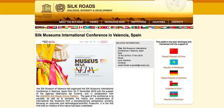 UNESCO destaca la importància del I Congrés Internacional de Museus de la Seda